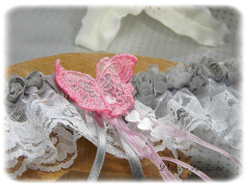 Jarretière rose gris blanc