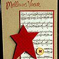 carte de voeux kraft, imprimé partition musique et étoile rouge