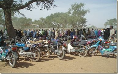 Parking motos Marché au bétail Sahel Mali
