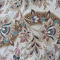 164 - grand tissu ancien napoleon iii motif d'indiennes 81 x 230