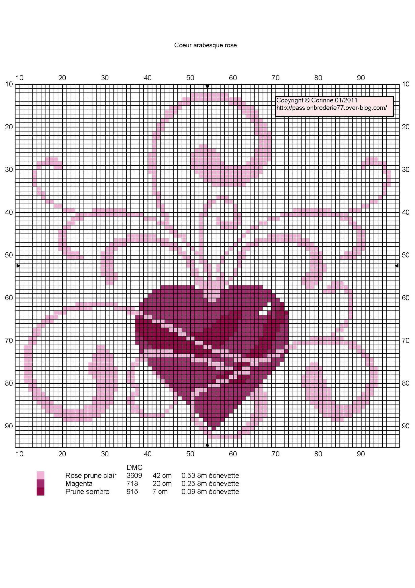 Coeur arabesque rose