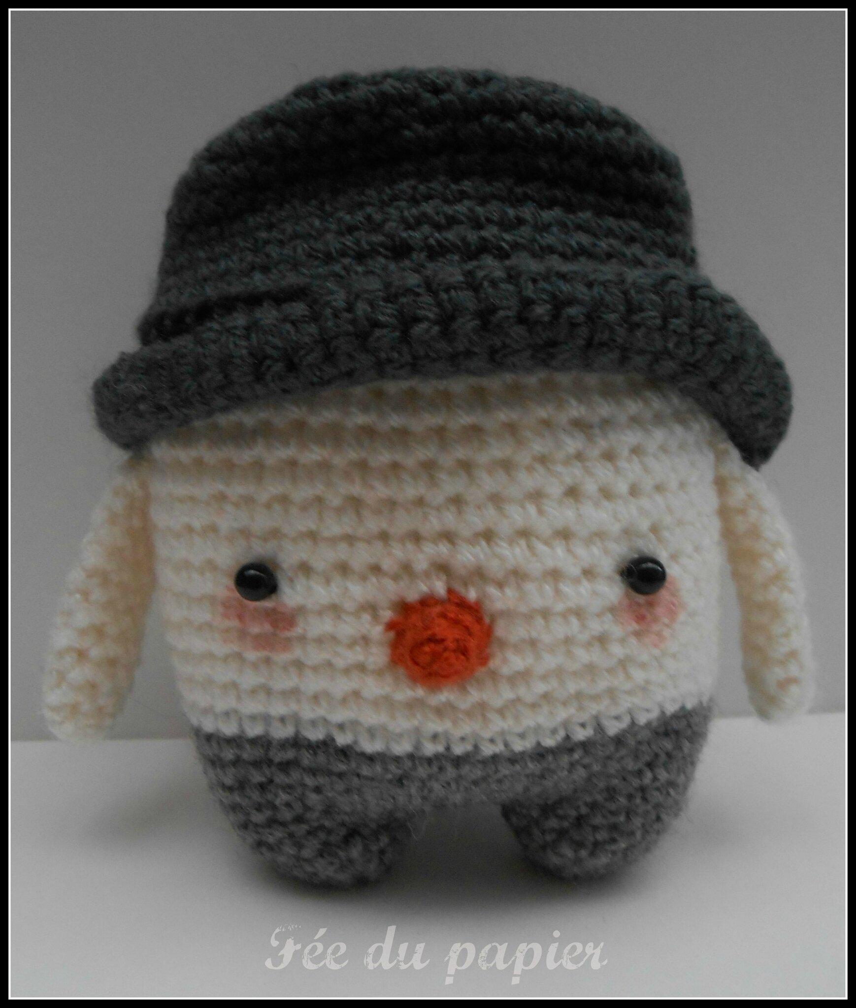Bonhomme au crochet f e du papier - Bonhomme de neige au crochet ...
