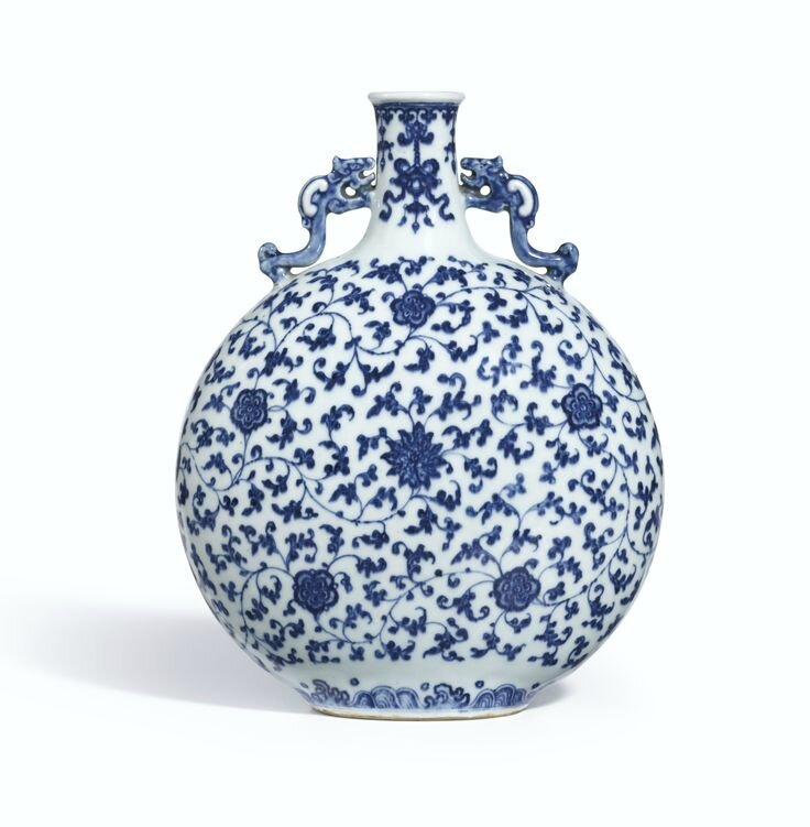 A Ming-style blue and white moonflask, Qing dynasty, 18th century