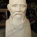 Le sage ou le maître d'armes - Buste en pierre O sensei