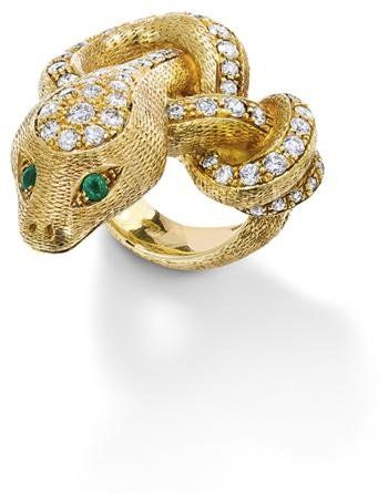 A_diamond_and_emerald_snake_ring