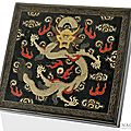 A black lacquer writing box decorated with painted gold lacquer showing an imperial dragon en face, china, qianlong period