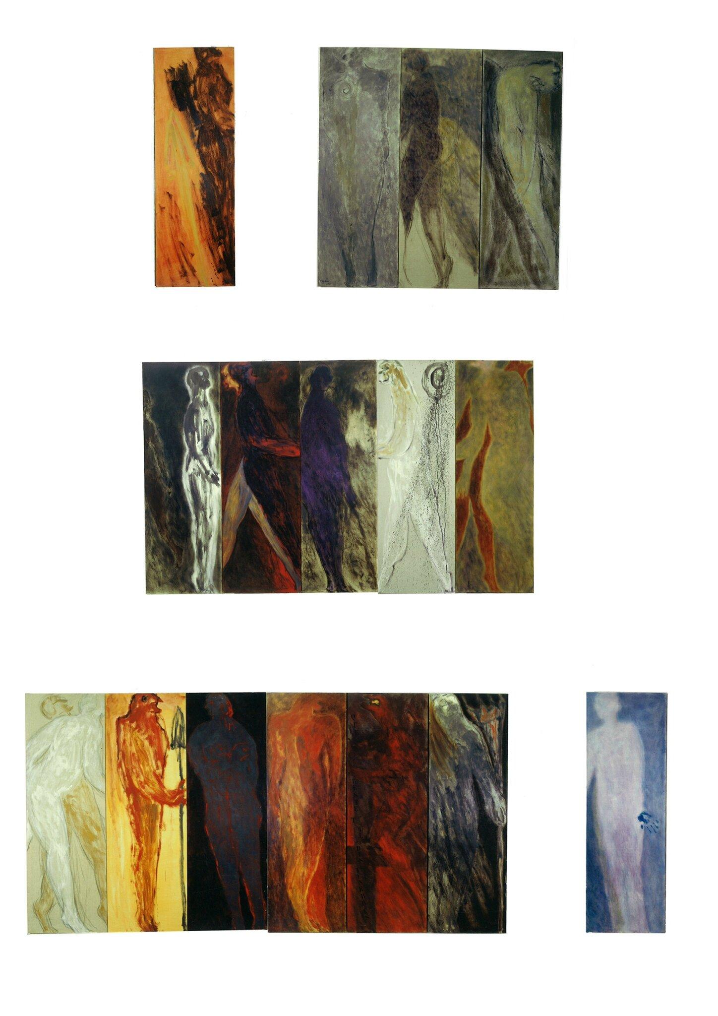 La Chambre des Rencontres /The Room of Encounters 1994-1999 - 32 oil on canvas 150x50cm each/chacune- detail
