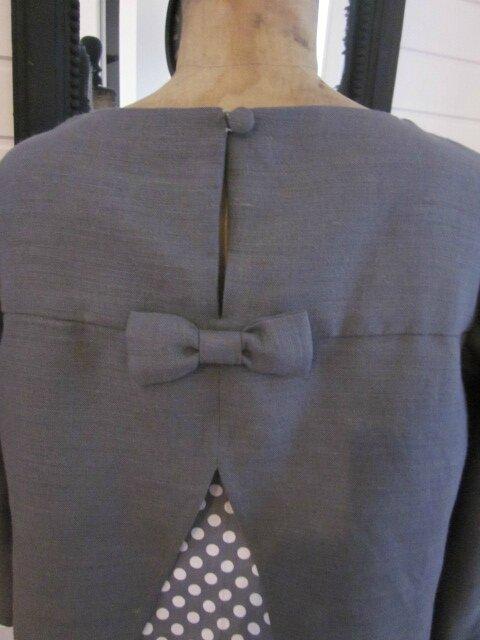 Tunique LEONTINE en lin gris et coton gris à pois blanc (12)