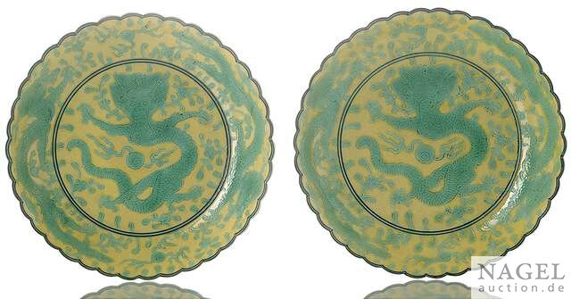 A pair of yellow-ground green-enamelled 'Dragon' saucer dishes, China, Guangxu six character marks and period