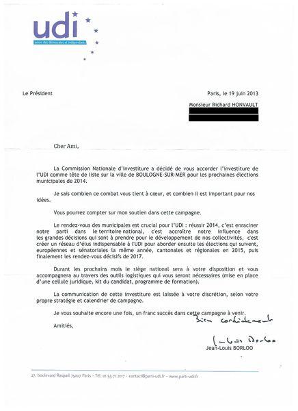lettre investiture UDI