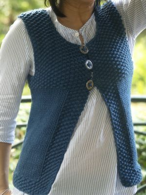 Gilet point de riz et jersey