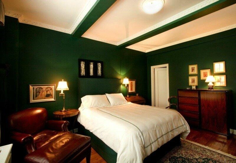couleurs-feng-shui-murs-vert-foncé-mobilier-cuir-marron-foncé