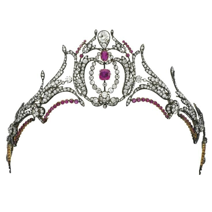 Ruby and diamond tiara, second half of the 19th century