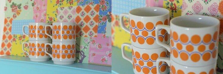 duo tasses pois orange