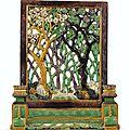 Ecran de table en biscuit à la glaçure jaune, vert et aubergine, Dynastie Qing, époque Kangxi (1662-1722)