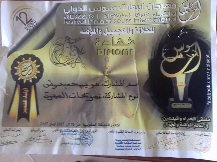 le certificat de participation au Festival de coiffure d'Agadir