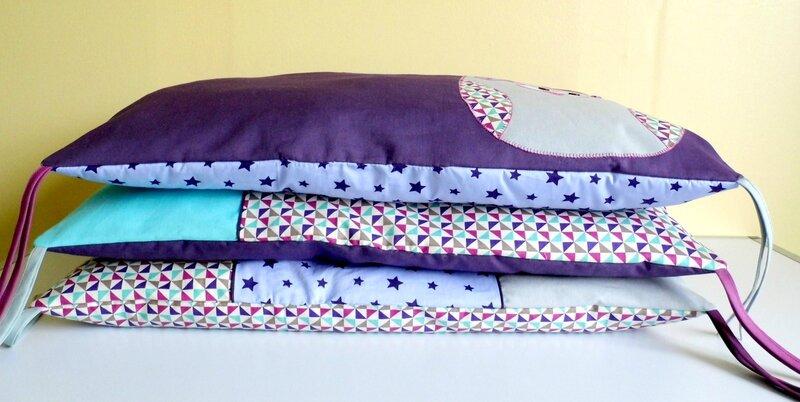 Tour de lit bébé original liste de naissance personnalisée sur mesure thême hibou violet turquoise