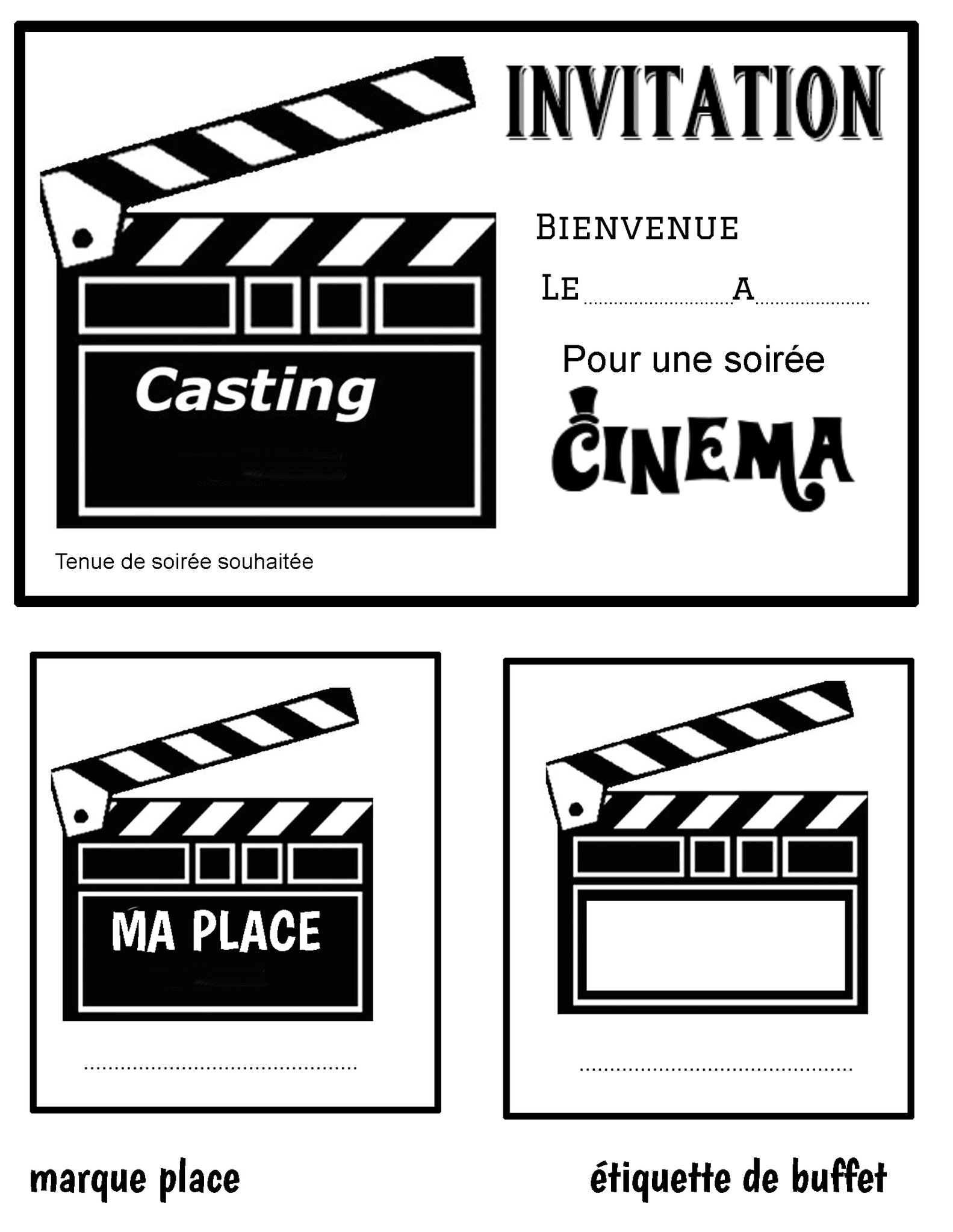 carte anniversaire theme cinema