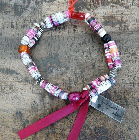 bracelet papier double rose