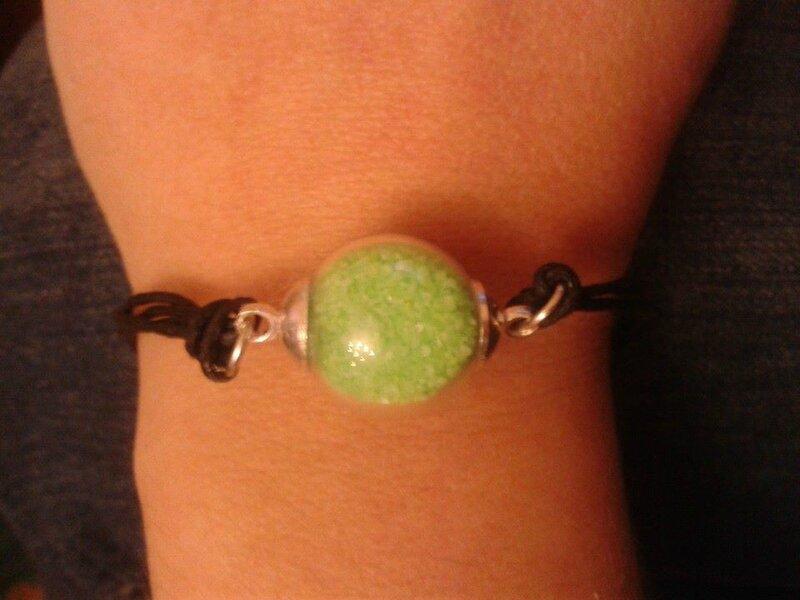 bracelet boules verte (1)