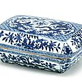 A blue and white 'dragon' box and cover, mark and period of wanli (1573-1620)