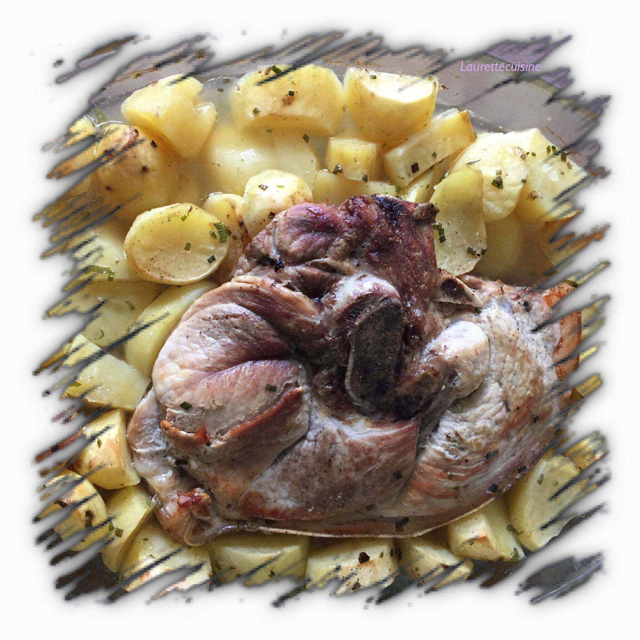 rouelle de porc cuite au four et ses pommes de terre laurette cuisine. Black Bedroom Furniture Sets. Home Design Ideas