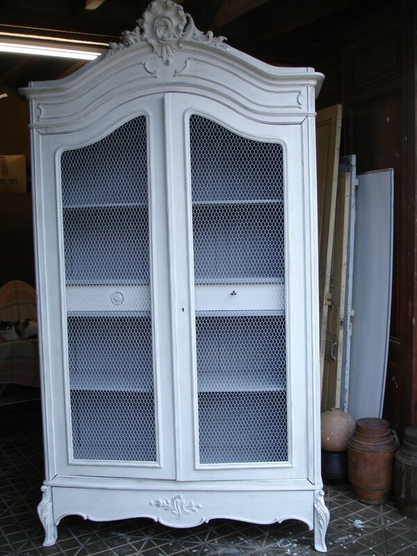 Armoire Coquille grillagée, patine ficelle (15)