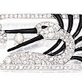 Platinum, diamond, onyx and pearl brooch
