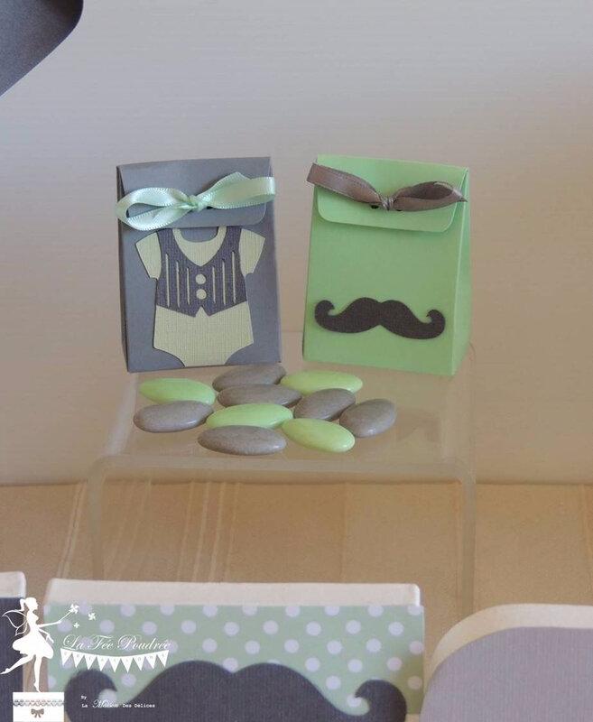 boite dragees bapteme theme dandy moustache vert mint gris lettres decorees