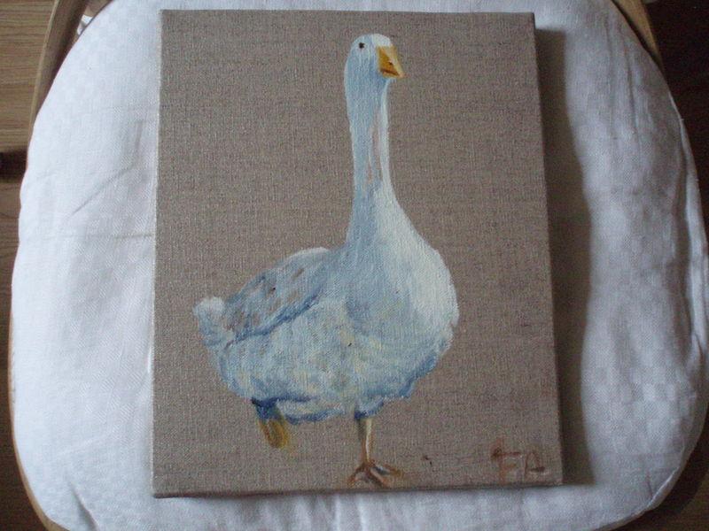oie huile sur lin 26 5x22 15 euros photo de peinture sur lin la boutique d 39 antan. Black Bedroom Furniture Sets. Home Design Ideas