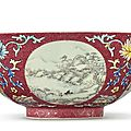 A ruby-ground famille rose sgraffiato 'medallion' bowl, daoguang seal mark and period (1821-1850)