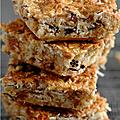 Barres cereales, amande, noisette, abricot, pruneau, noix de coco pour marche dynamique