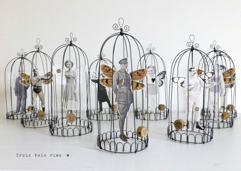 Drôle d'oiseaux, cage fil de fer, wire, fil de fer, papillon, policeman, trois fois rien