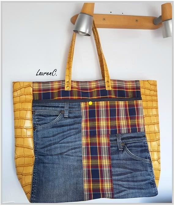SAC JEAN SIMILI JAUNE CARREAUX