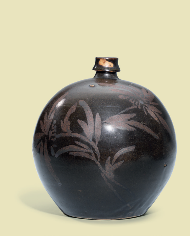 A Cizhou black-glazed russet-decorated 'Floral' globular wine jar, Song dynasty (960-1279)