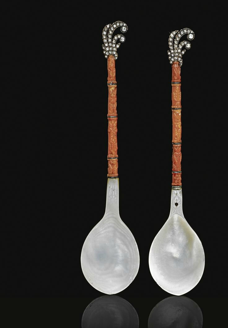 A Pair of Diamond-Set Mother-of-Pearl and Coral Spoons, Turkey, 18th-19th century