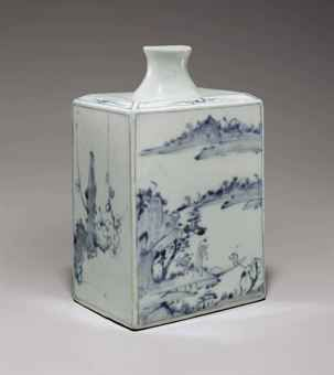 a_large_square_blue_and_white_porcelain_bottle_painted_with_riverscape_d5471105h