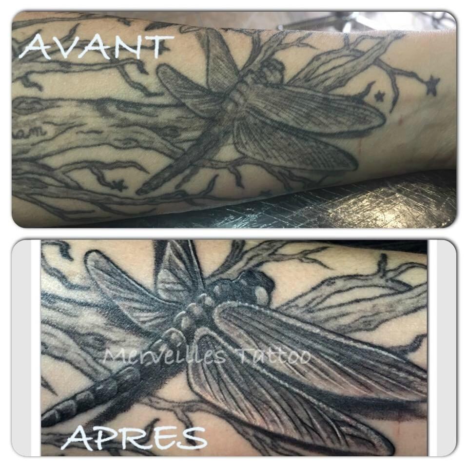 Rattrapage tattoo libellule réalisé par Jérémy