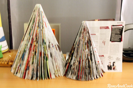 sapin de no l avec des magazines diy d co pas ch re et. Black Bedroom Furniture Sets. Home Design Ideas
