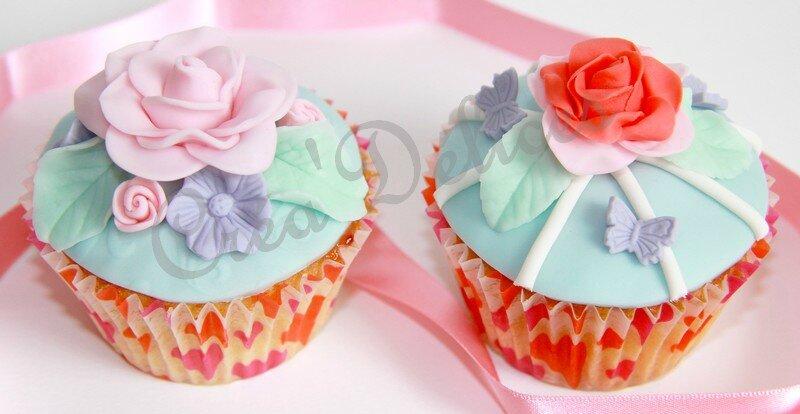 Cupcakes fleurs pastels