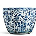 A blue and white 'lotus pond' jardinière. ming dynasty, 16th century - sotheby's