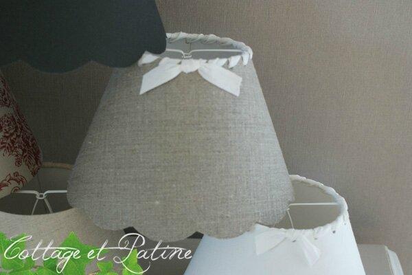 abat jour fait mains AJ lin foncé ruban mat blanc N° 3 (4) cottage et patine