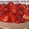 Cheesecake au philadelphia milka , à la rose et fraises