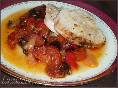 Rôti de filet de dinde au chorizo et aux légumes du soleil
