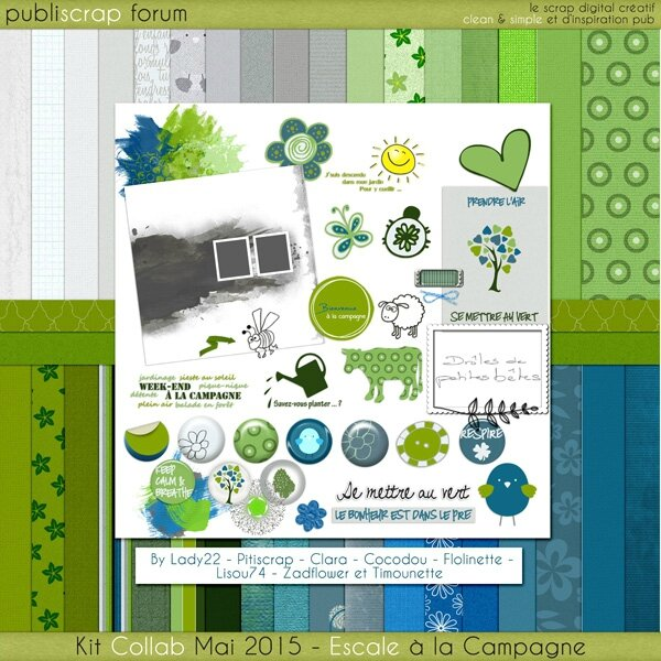 Preview kit Escale à la campagne publiscrap collab