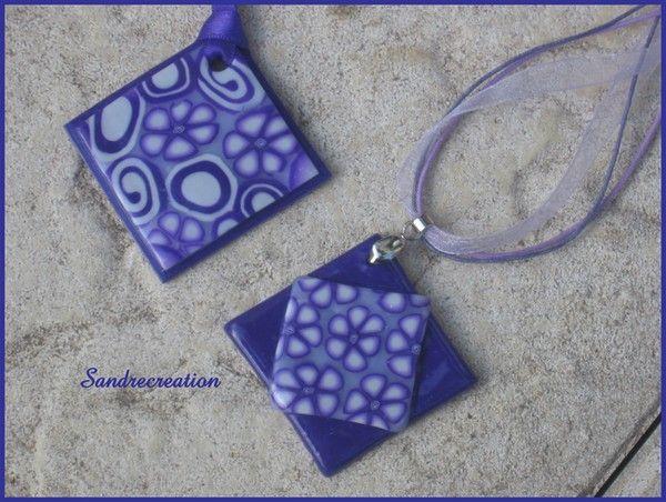 Pendentifs fleurs violettes