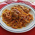 Paupiettes de veau et spaghetti all'arrabiata