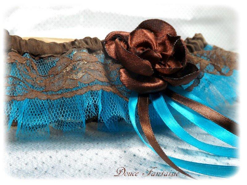 Jarretière dentelle chocolat turquoise
