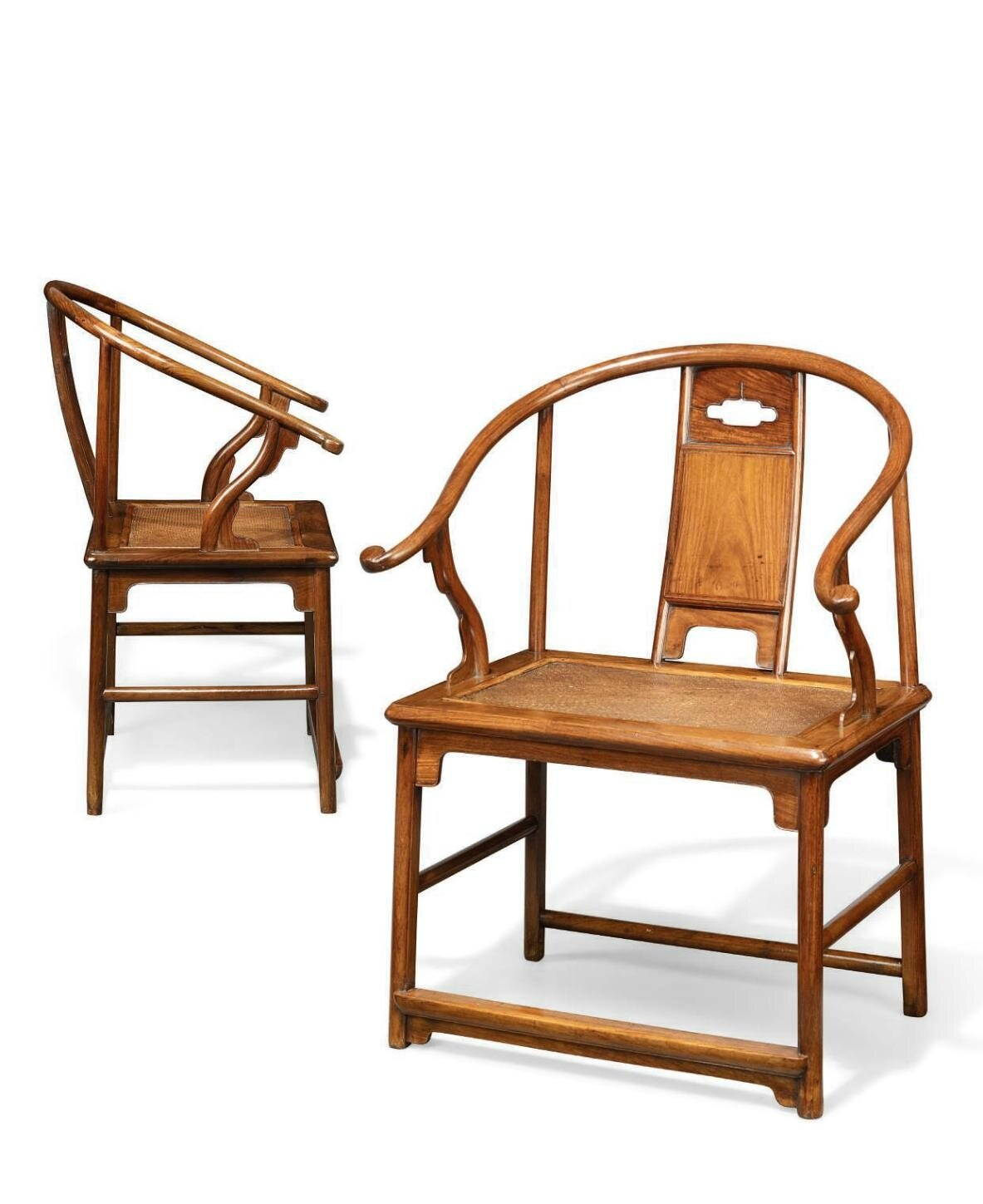 An Extremely Rare And Important Pair Of Huanghuali Horseshoe Back  Armchairs, Quanyi, Ming Dynasty, 17th Century