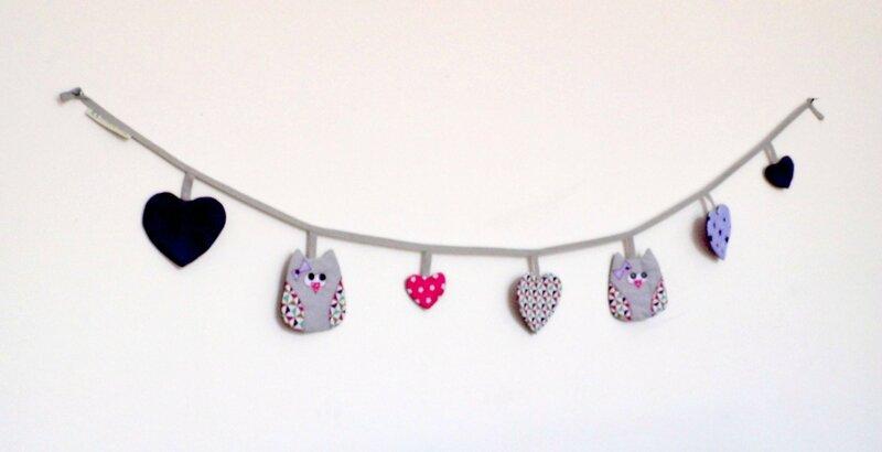 Banderole guirlande décoration de chambre hiboux chouettes coeurs